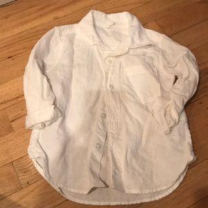 Little boys white linen top